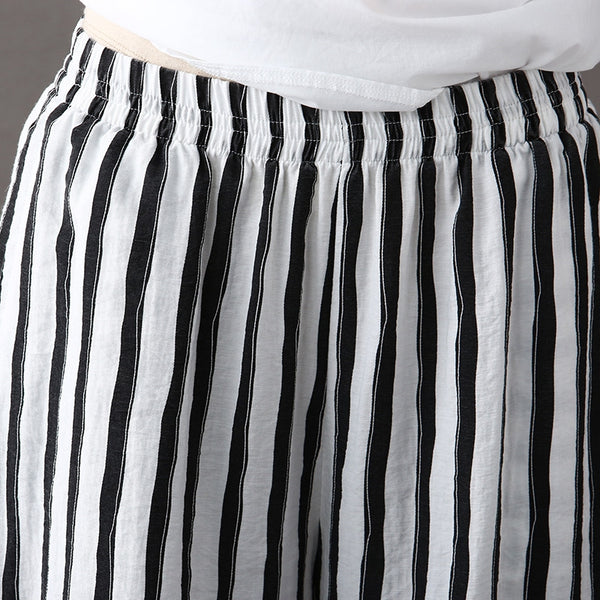 Fashion High Waist Striped Wide Leg Pants Women Cotton Linen Trousers K1964