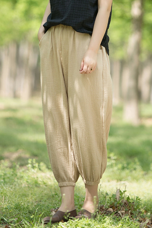 Women Vintage Cotton Plus Fours Summer Trousers K1452