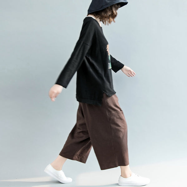 Loose Coffee Wide Leg Pants Women Casual Trousers For Summer K6082