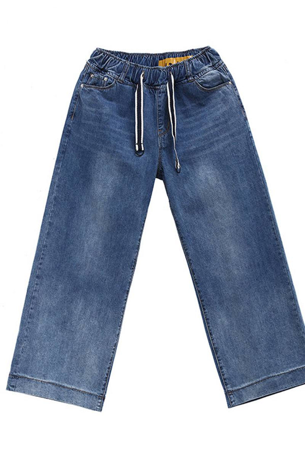 Blue Cotton Long Jeans For Women Casual Loose Ladies Denim K9042 - FantasyLinen