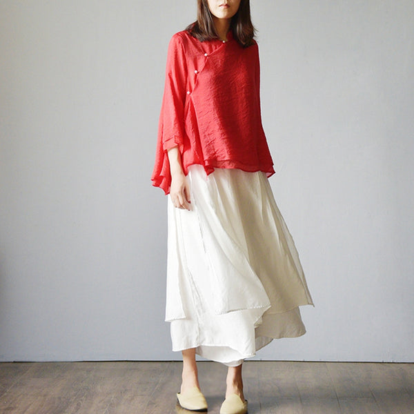 Vintage Wide Leg Plus Sweep Silk Cotton Pants K1554