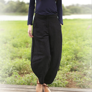 Black Loose Brushed Casual Harem Pants For Women K5113