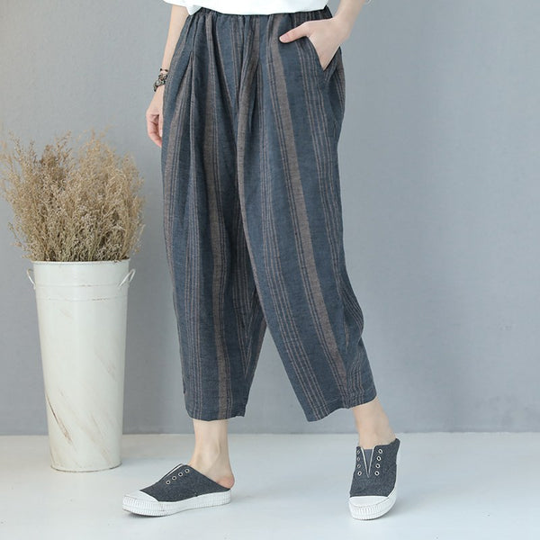 Vintage Casual Linen Harem Pants Loose Trousers For Women Q8981