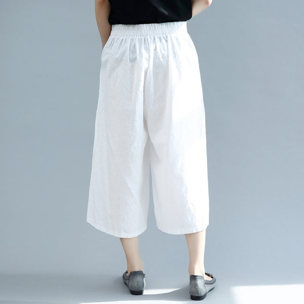 Pure Color Casual Wide Leg Cotton Linen Pants Women Trousers K2859