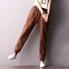 Korea Style Cotton Brushed Casual Pants Women Winter Trousers K2211