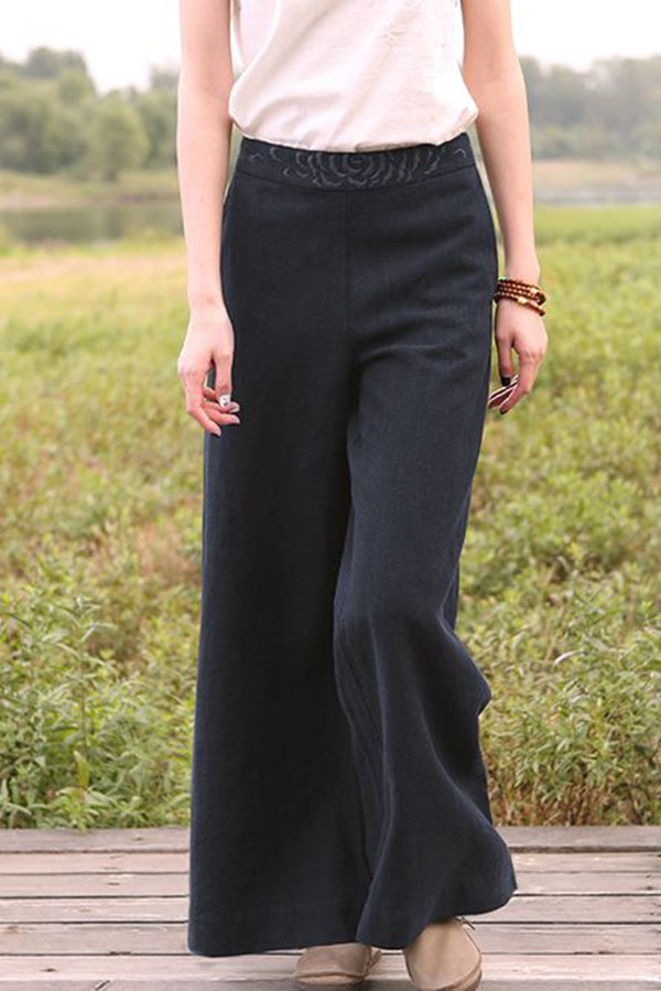 Women Loose Wide Leg Linen Long Pants K7051