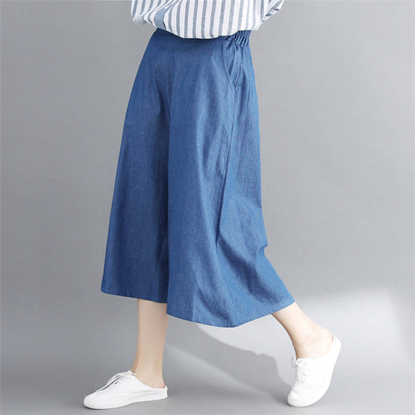 Casual Wide Leg Blue Denim Pants Women Cotton Jeans K1673