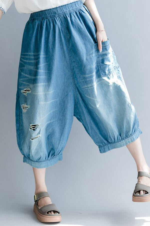 Summer Hole Thin Blue Denim Pants Women Cotton Cowboy Trousers K1161