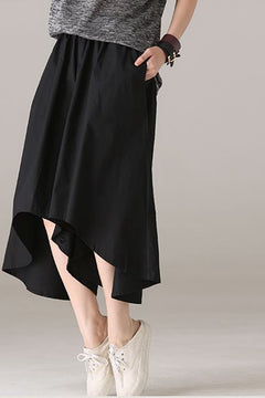 Casual Black Wide Leg Pants Dress Women Cotton Trousers K8920