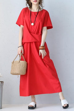 Fashion Blue Round Neck Waist Button Down Cotton Long Dress Q1057