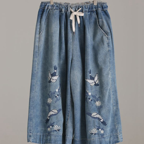 Casual Blue Embroidery Cotton Denim Trousers Women Wide Leg Pants N6807 - FantasyLinen