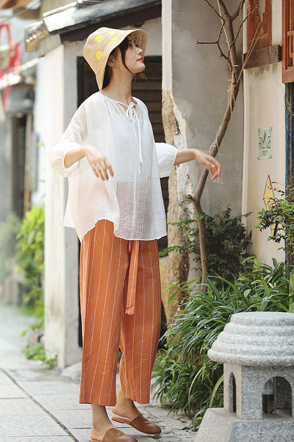 Comfort Striped Wide Leg Pants Women Linen Trousers K1966
