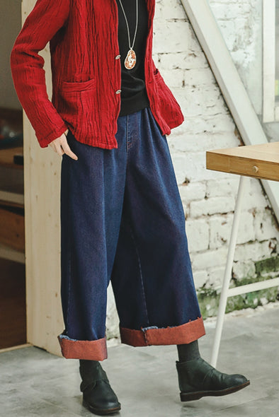 Casual Denim Wide Leg Pants Women Loose Jeans K8915