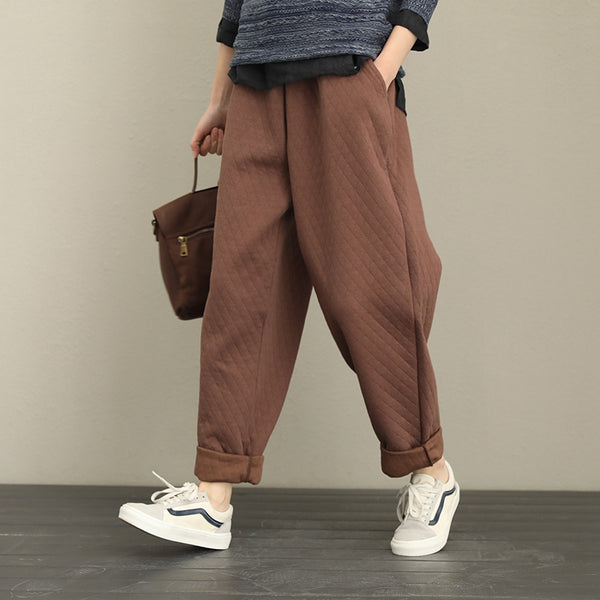 Loose Thicken Cotton Casual Pants Women Winter Trousers QT333