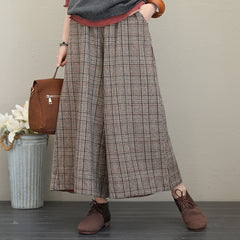 Elegant Plaid Woolen Wide Leg Pants Women Casual Trousers Q1722