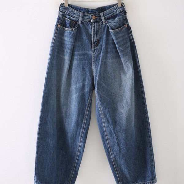 Women Vintage Blue Denim Pants Casual Cotton Trousers N2956