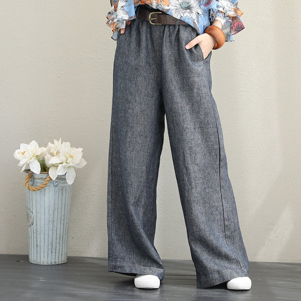 Fashion Casual Linen Wide Leg Pants For Women Q1399