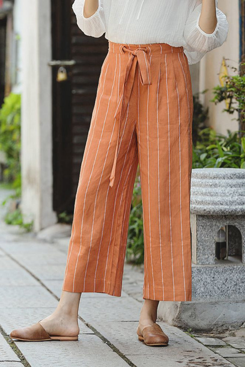 special discount how to purchase official site Comfort Striped Wide Leg Pants Women Linen Trousers K1966