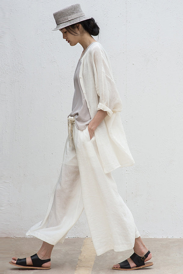 Women Casual Linen Wide Leg Pants Thin Trousers LT Design L1459