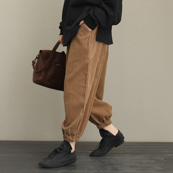 Loose Thicken Corduroy Casual Pants Women Warm Trousers QT323