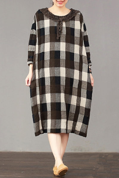 FantasyLinen Large Plaid Dress, Plus Size Cotton Loose Dress For Spring  Q3014