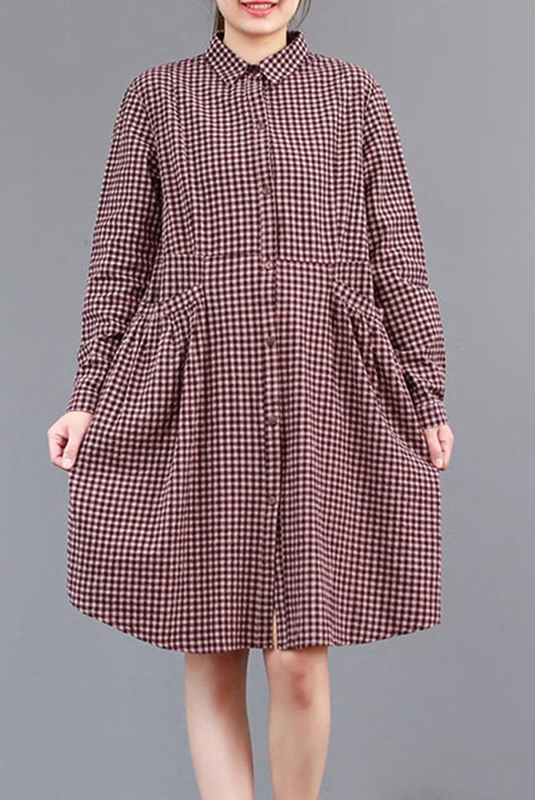 FantasyLinen Plaid Shirt Dress, Cotton Loose Dress For Spring Q3011 - FantasyLinen