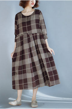 FantasyLinen Plus Size Plaid Dress, Fashion Loose Dress in Coffee Q3020