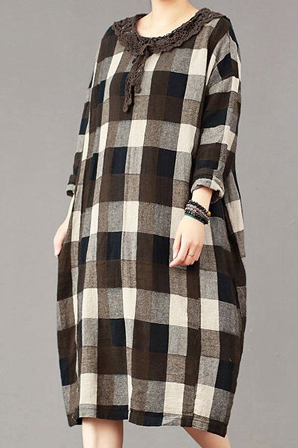 FantasyLinen Large Plaid Dress, Plus Size Cotton Loose Dress For Spring Q3014 - FantasyLinen