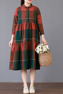 FantasyLinen Loose Large Plaid Dress, Cotton Plue Size Dress Q3019