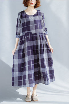 FantasyLinen Plus Size Plaid Dress, Fashion Loose Dress in Blue Q3020