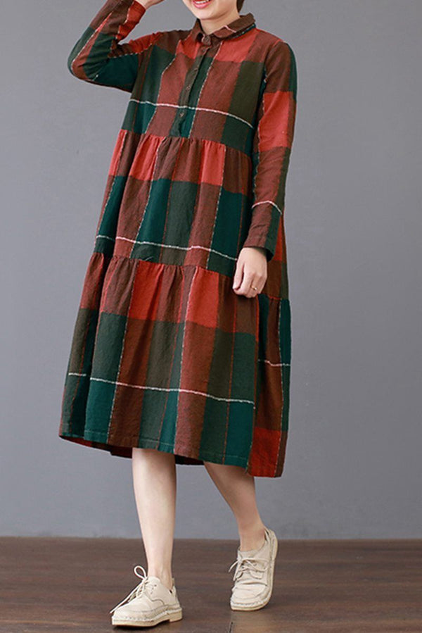FantasyLinen Loose Large Plaid Dress, Cotton Plue Size Dress Q3019 - FantasyLinen