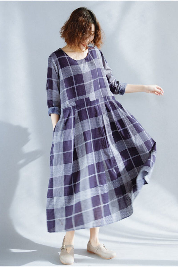 FantasyLinen Plus Size Plaid Dress, Fashion Loose Dress in Blue Q3020 - FantasyLinen