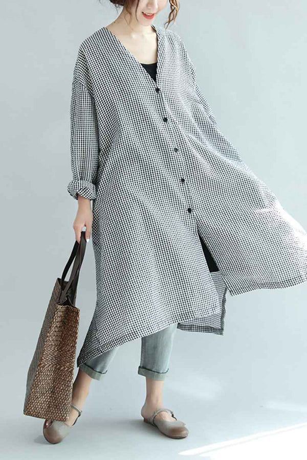 Spring Linen Plaid Casual Loose Long Shirt Dress For Women S3405 - FantasyLinen