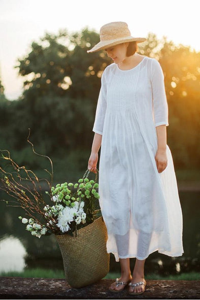 2018 Spring Dress Casual A-line Long Maxi Cotton Dresses Two-Piece White Dress S2210 - FantasyLinen