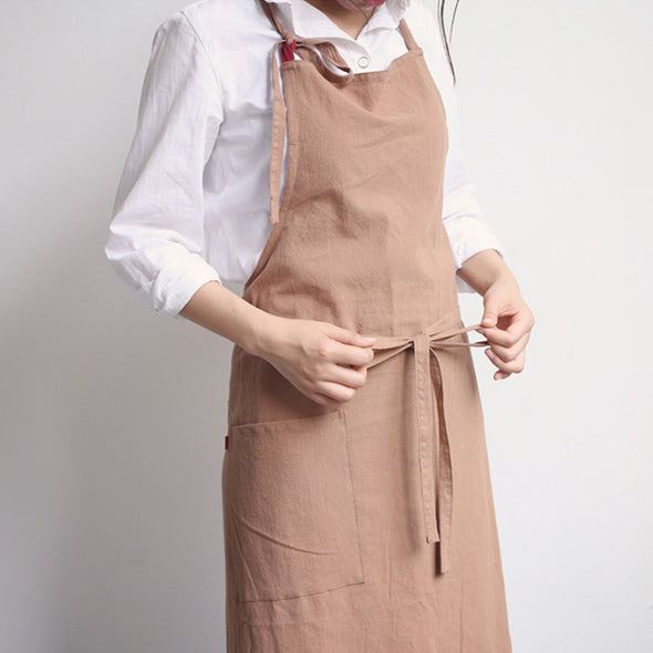 Full Length Cotton Linen Apron Barista Cafe Waitress Bar Bakery Catering Uniform Painter Florist Gardener Workwear A1302 - FantasyLinen
