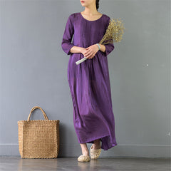 Spring Silk Cotton Dress Casual A-Line Maxi Dress