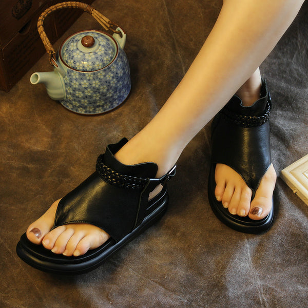Genuine Leather Women Sandals Black Fashion Flip Flop Style Sandals