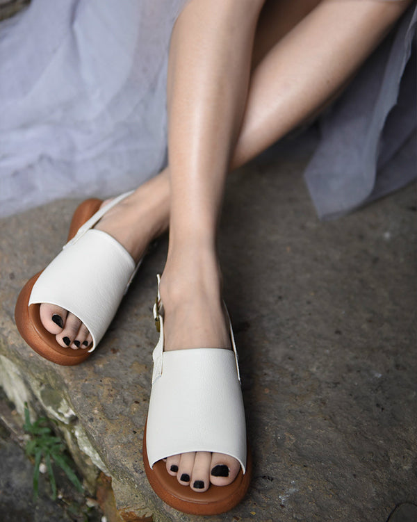 Genuine Leather Women Sandals Fish Mouth Slip On Sandals Low Heels White Casual Leather Sandals