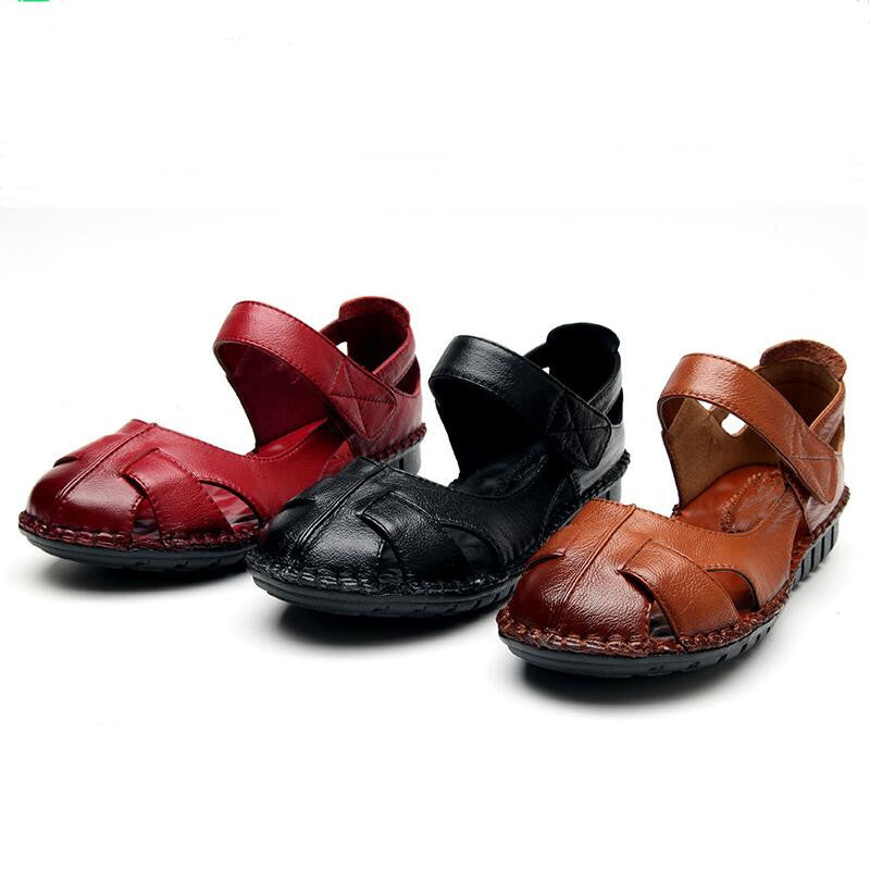 Summer Handmade Hollow Soft Genuine Leather Shoes Women