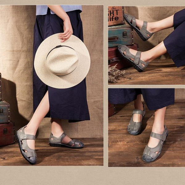 Summer Handmade Hollow Soft Genuine Leather Shoes Women Sandals Retro Casual Flat Sandals
