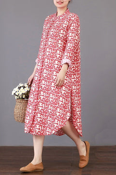 FantasyLinen Literary Loose Cotton Dress, Fashion Style Stand Collar Dress Q3018