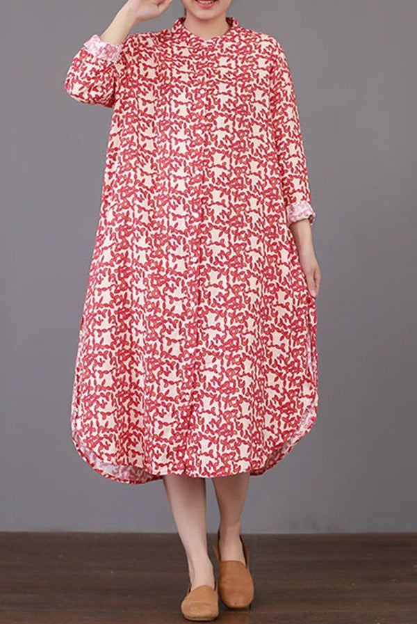 FantasyLinen Literary Loose Cotton Dress, Fashion Style Stand Collar Dress Q3018 - FantasyLinen