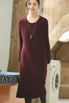 Red Wool Long Women Sweater Dress Outfit Elegant Knit Dresses Q2691