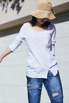 Simple Loose Cotton Shirt Women Casual Tops T1502