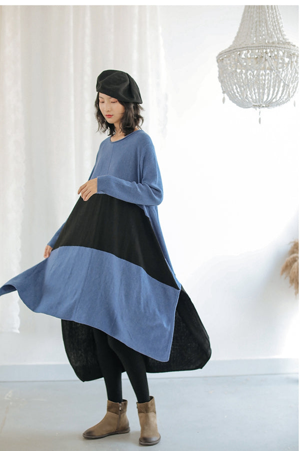 Irregular Wool Sweater Long Knitted Loose Dress For Women Q9103