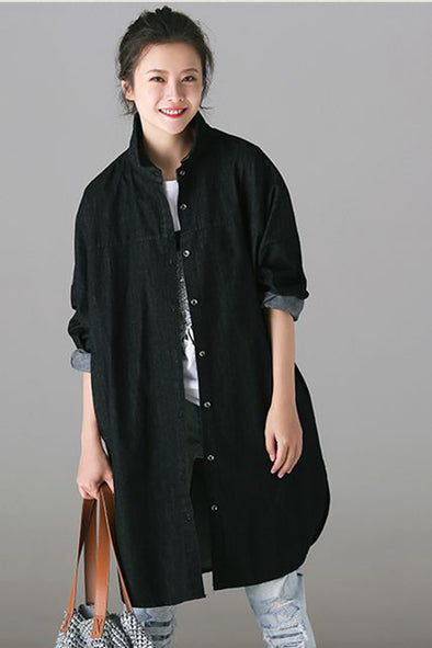 Casual Blue And Black Denim Long Shirt For Women C8230