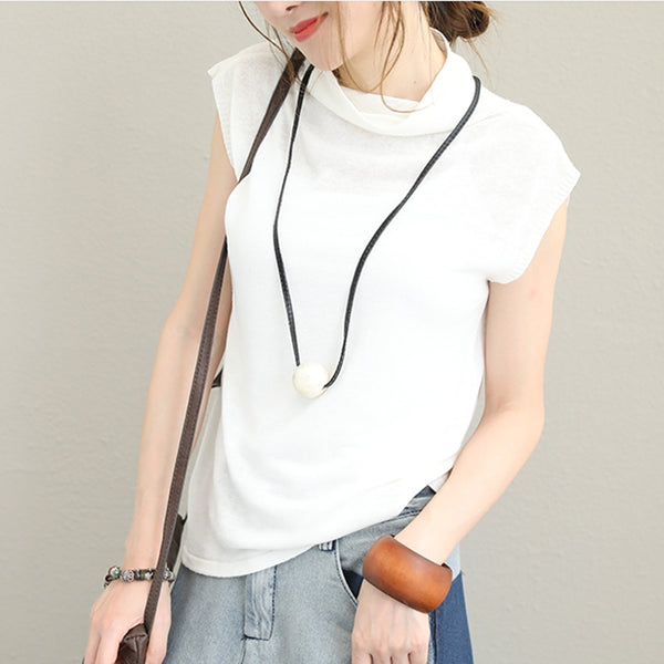 Fashion High Neck Sleeveless Linen Blouse For Women Q1353