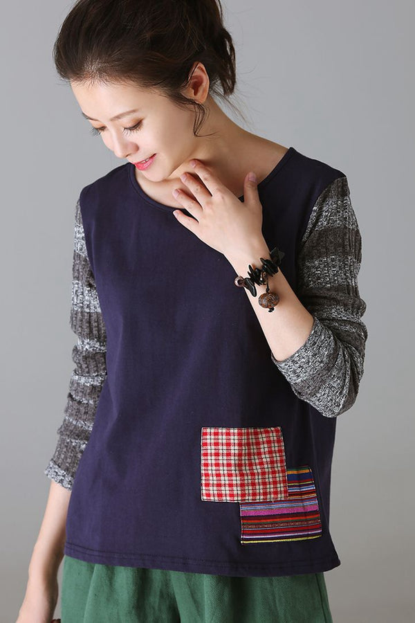 Cute Quilted Cotton Shirt Women Tops For Autumn T1520
