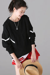 Plus Size Striped Long Sleeve Cotton Fleece For Women R1851