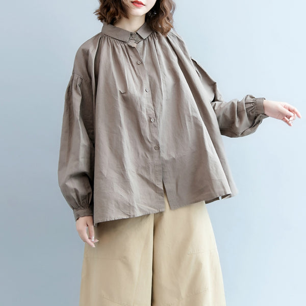 Fall Loose Casual Shirt Women Cotton Linen Blouse S6088